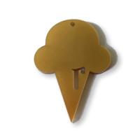 Plexy dorado- Colgante helado cucurucho 50x31 mm, int 1.5 mm