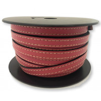 Cuero plano 10 mm,color rosa borde cosido, seccion de 20 cm