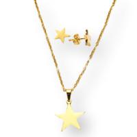Estrellas -Conjunto collar y pendientes de acero dorado
