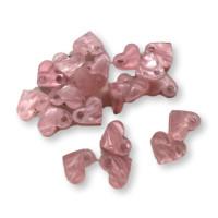 Colgante corazon rosa perlado mini de plexy 9x8 mm, int 1.2 mm