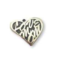 Colgante corazon LOVE zamak baño de plata 23x20 mm