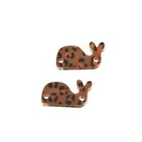 Plexy marron leopardo - Entrepieza ballena 21x12 mm, int 1.5 mm