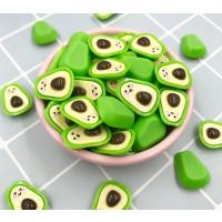 Apliques resina frutas aguacates 24x16 mm- 1 par