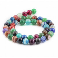 Hilera gemas Agata mix multicolor  8 mm ( 48 uds aprox)