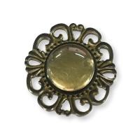 Decoracion scrap bronce - Camafeo redondo 39 mm con cabuchon 18 mm