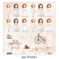 Un dia de ilusion 3 niñas Comunion 2020 - Papel scrap 30x30 cm PFY2351