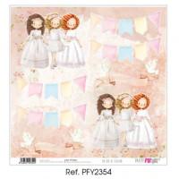 Un dia de ilusion 3 niñas Comunion 2020 - Papel scrap 30x30 cm PFY2354