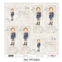 Un dia de ilusion Recordatorios-2 niño rubio marinero Comunion 2020 - Papel scrap 30x30 cm PFY2404