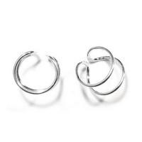 Pendiente de Cartilago earcuff en plata de ley - Aro doble - 1 ud