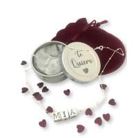 Regalo personalizado - Collar bolitas plata ley nombre en cajita personalizada