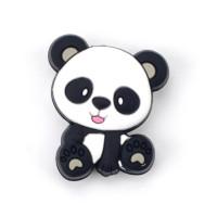 Figurita de silicona- Oso Panda 25x22 mm - Orejas grises