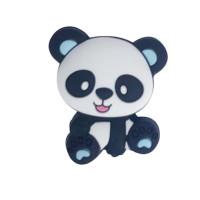 Figurita de silicona- Oso Panda 25x22 mm - Orejas azules bebe