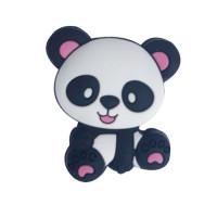 Figurita de silicona- Oso Panda 25x22 mm - Orejas rosas