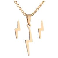 Rayo dorado - Conjunto collar y pendientes de acero plateado