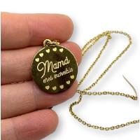 Mamá eres increible - Gargantilla fina y medalla de 22 mm de acero dorado 40 cm + 5 cm extendedora