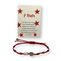 Pulsera roja de los 7 nudos con medallita redonda ( protege de las malas energias)