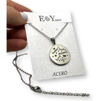 Medallon mama Love - Gargantilla fina y medalla de 25 mm de acero plateado 40 cm + 5 cm extendedora