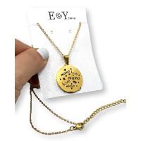 Medallon mama Love - Gargantilla fina y medalla de 25 mm de acero dorado 40 cm + 5 cm extendedora