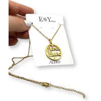 Mama te quiero - Gargantilla fina y medalla de 25 mm de acero dorado 40 cm + 5 cm extendedora