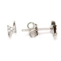 Rayos mini 6x3 mm con circonitas blancas  - Pendientes de plata de ley ( 1 par)