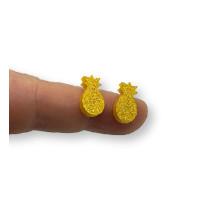 Plexy dorado glitter - Aplique piña 10 mm ( sin taladros)- 2 uds