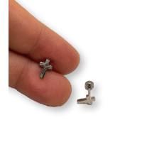 Cruz 8 mm con cierre rosca - Pendientes acero inoxidable plateado - 1 par