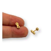 Infinito 8 mm con cierre rosca - Pendientes acero inoxidable dorado - 1 par