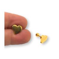 Corazon 10 mm con cierre de rosca - Pendientes acero inoxidable dorado - 1 par