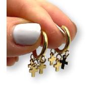 Aros 14 mm con 3 mini cruces - Pendientes de acero dorado (1 par)