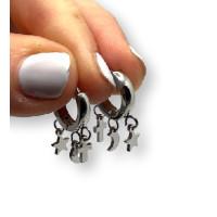 Aros 14 mm con 3 mini colgantes ( estrella, cruz y luna) - Pendientes de acero plateado (1 par)