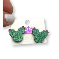 Cabeza raton cactus plexy glitter verde - Pendiente de acero - 1 par