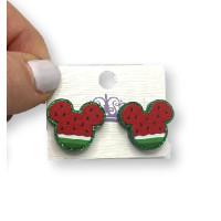 Cabeza raton sandia plexy glitter verde - Pendiente de acero - 1 par