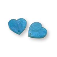 Plexy azul nacarado - Aplique colgante corazon invertido 16 mm ( 2 uds)