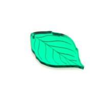 Plexy verde espejo - Colgante hoja grande 31x55 mm