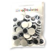 Ojos de plastico negros 15  mm -Pack 50 uds