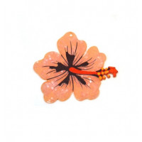 Plexy estampado - Colgante flor hibisco grande 68x62 mm