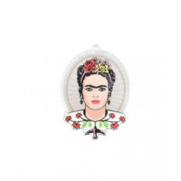 Plexy estampado - Colgante oval Frida Kahlo 47x37 mm