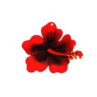 Plexy estampado - Colgante flor hibisco roja grande 68x62 mm