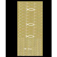 Stickers- Lamina 10x23 cm pegatinas Motivos Comunion  Peces ( Dorado)