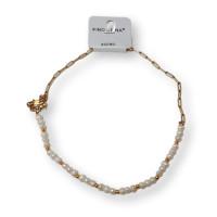 Collar gargantilla de acero dorado, perlas y eslabones paperclip 40 cm +5 cm extension