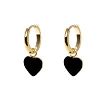 Aritos lisos corazon negro esmalte - Pendiente plata de ley baño oro - 1 par