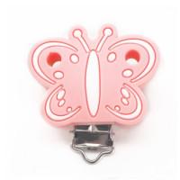 Mariposa Rosa Bebe - Pinza chupetero silicona 43x48 mm