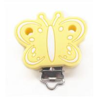 Mariposa Amarillo Pastel - Pinza chupetero silicona 43x48 mm