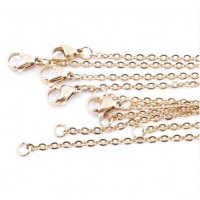 Cadena collar gargantilla acero dorado eslabon oval 2 mm - 50 cm