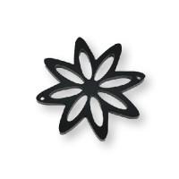 Plexy negro - Entrepieza flor 8 petalos 37 mm