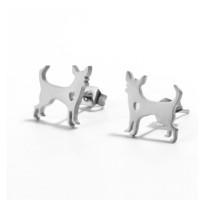 Perros 12 mm - Pendientes acero inoxidable plateado- 1 par
