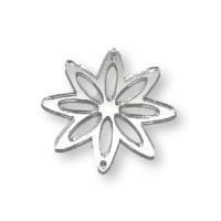 Plexy plateado espejo - Entrepieza flor 8 petalos 37 mm