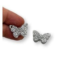 Plexy plata glitter - Colgante mariposa 20 mm, int 1.2 mm