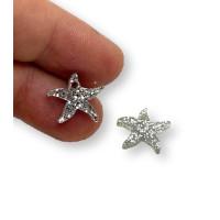Plexy plata glitter - Colgante estrella de mar peque 15 mm, int 1.2 mm