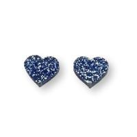 Aplique metacrilato plexy corazon azul glitter 14x13 mm, int 1.2mm  - 2 uds